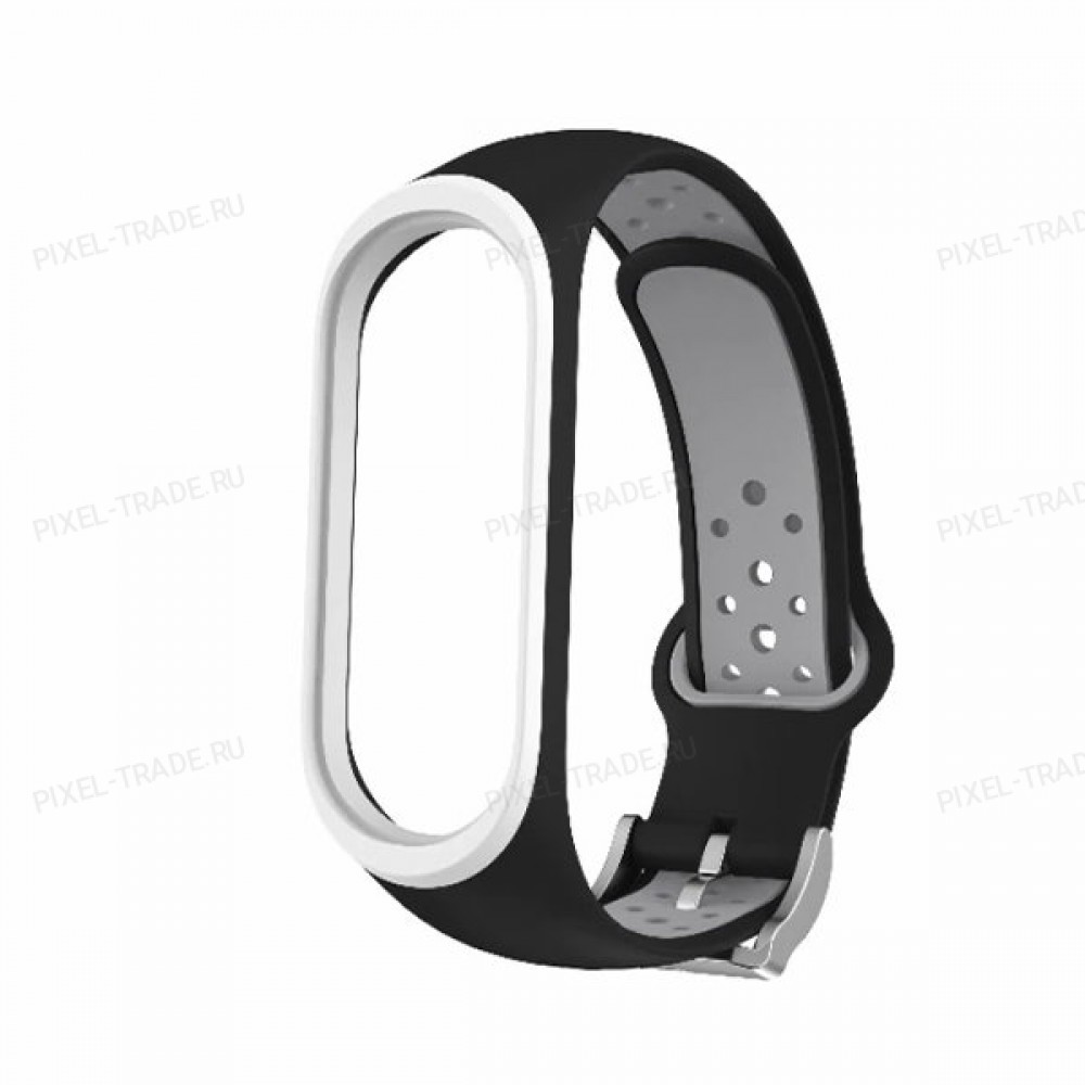 Сменный браслет Xiaomi Mi Band 4 цветной (черно-серый)