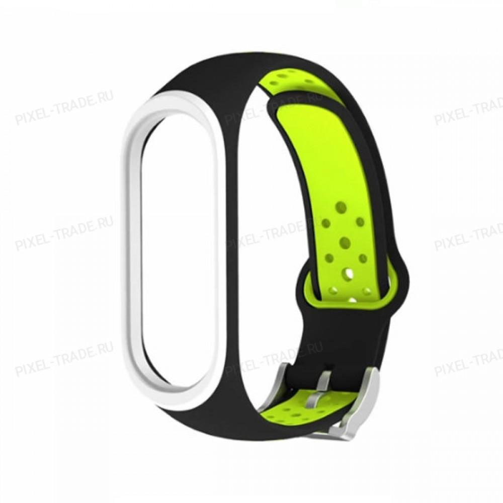 Сменный браслет Xiaomi Mi Band 4 цветной (черно-зеленый)