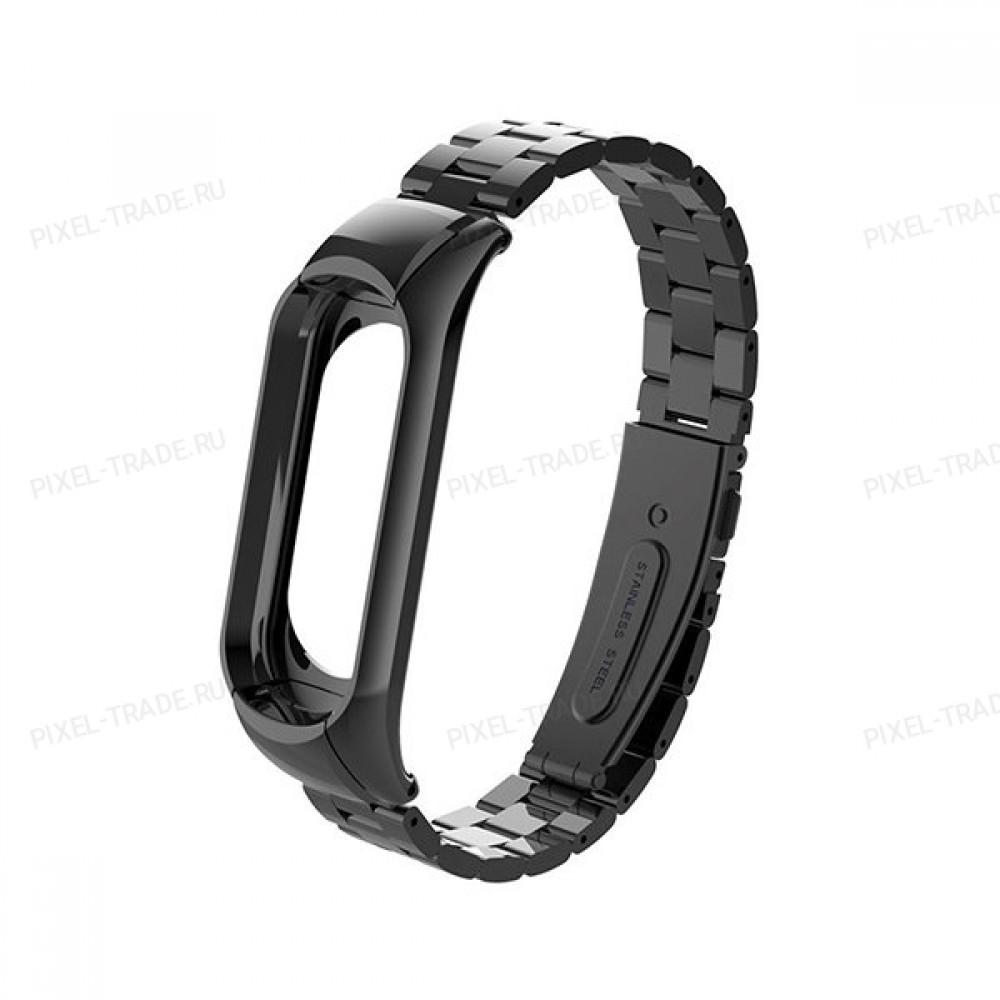 Сменный браслет Xiaomi Mi Band 4 металлический (Черный)