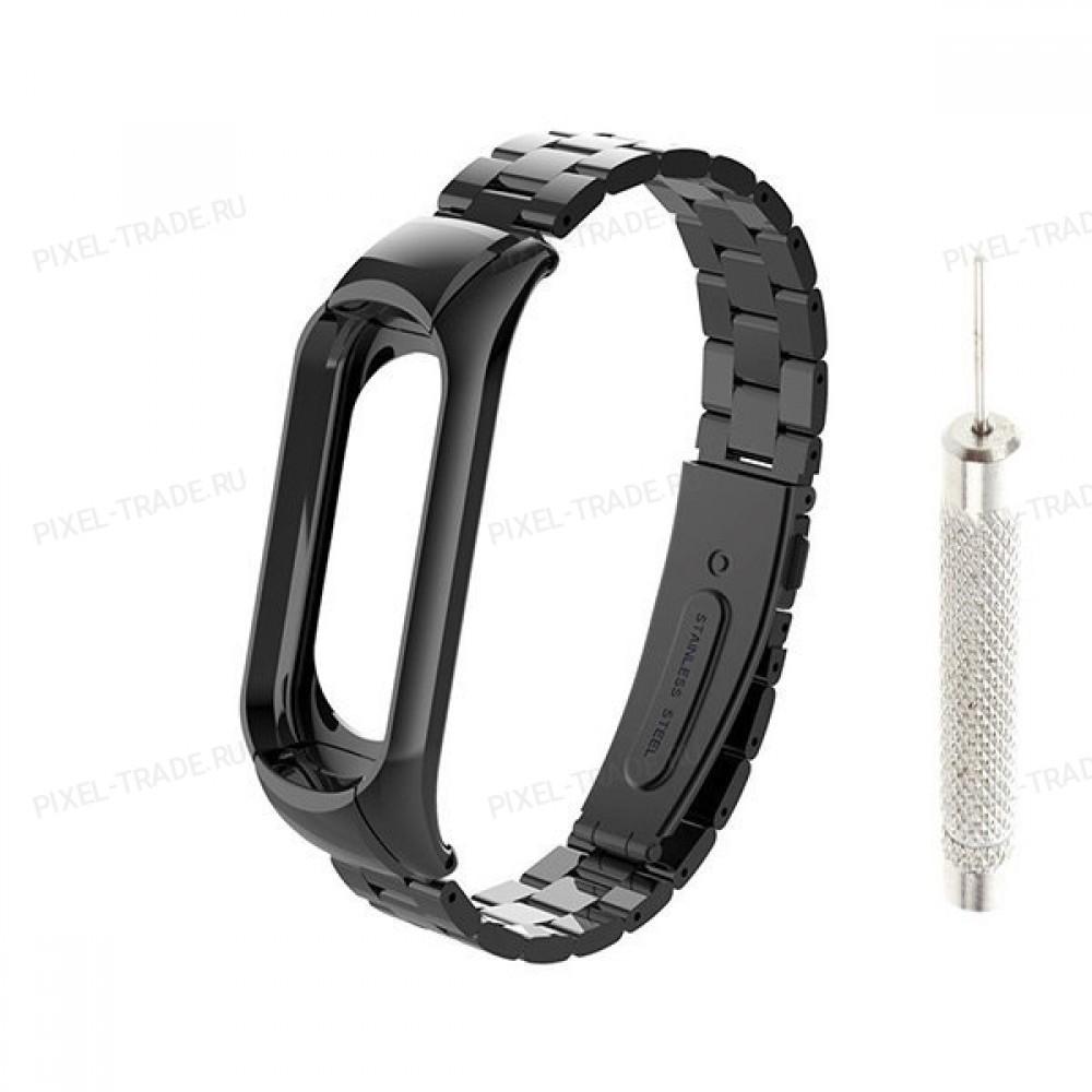 Сменный браслет Xiaomi Mi Band 4 металлический с иглой (Черный)