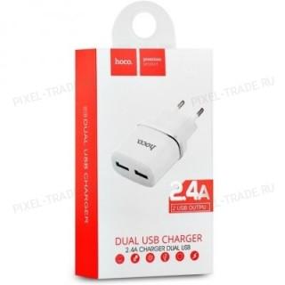 Сетевой адаптер HOCO C12 Dual USB Charger 2.4A (White)