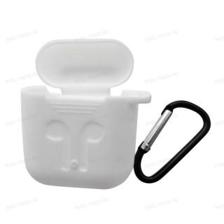 Противоударный силиконовый  защитный чехол для наушников  Apple AirPods (Белый)