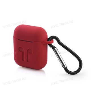 Противоударный силиконовый  защитный чехол для наушников  Apple AirPods (Красный)