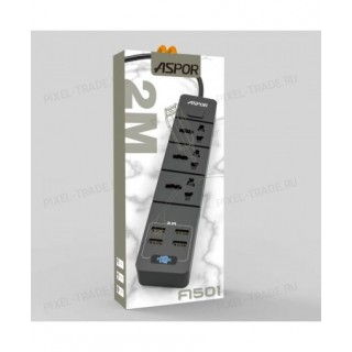 Сетевой фильтр Aspor A501, 3 розетки, 4 USB, 2 м.