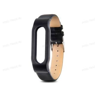 Сменный браслет Xiaomi Mi Band 3 кожаный (Черный)