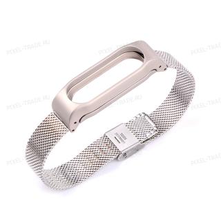Сменный браслет Xiaomi Mi Band 3 миланская петля (Серебро)