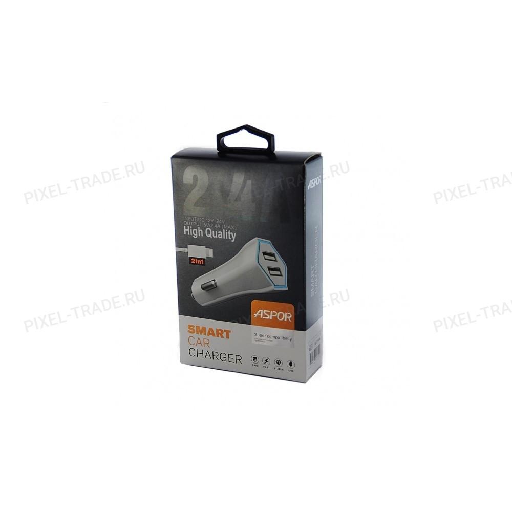 АЗУ Aspor A901 + USB кабель Micro, 2in1/2USB/2.4A.