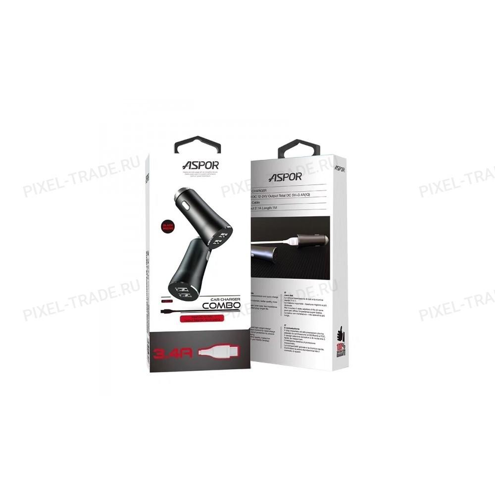 АЗУ Aspor A918 2USB/3.4A Metal + USB кабель Type-C.