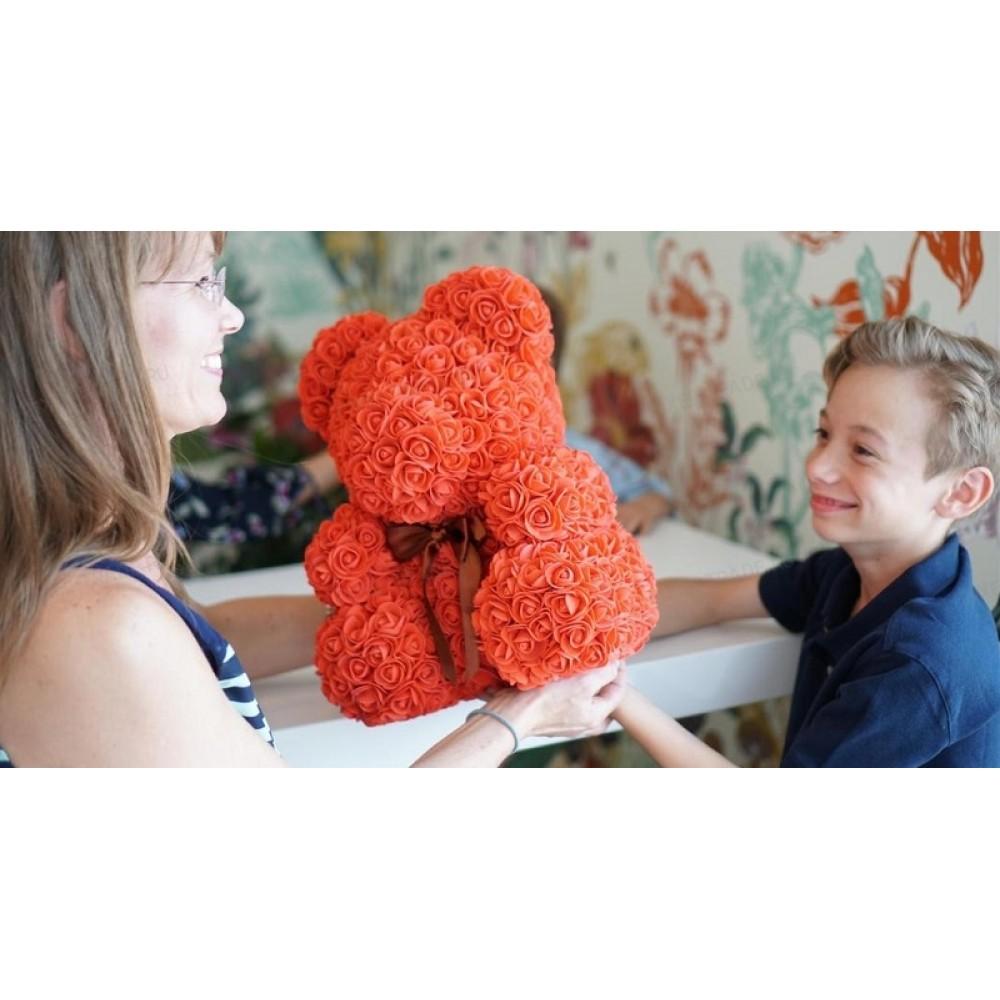 Rosebear Мишка из РОЗ PREMIUM 40 СМ (Персиковый)