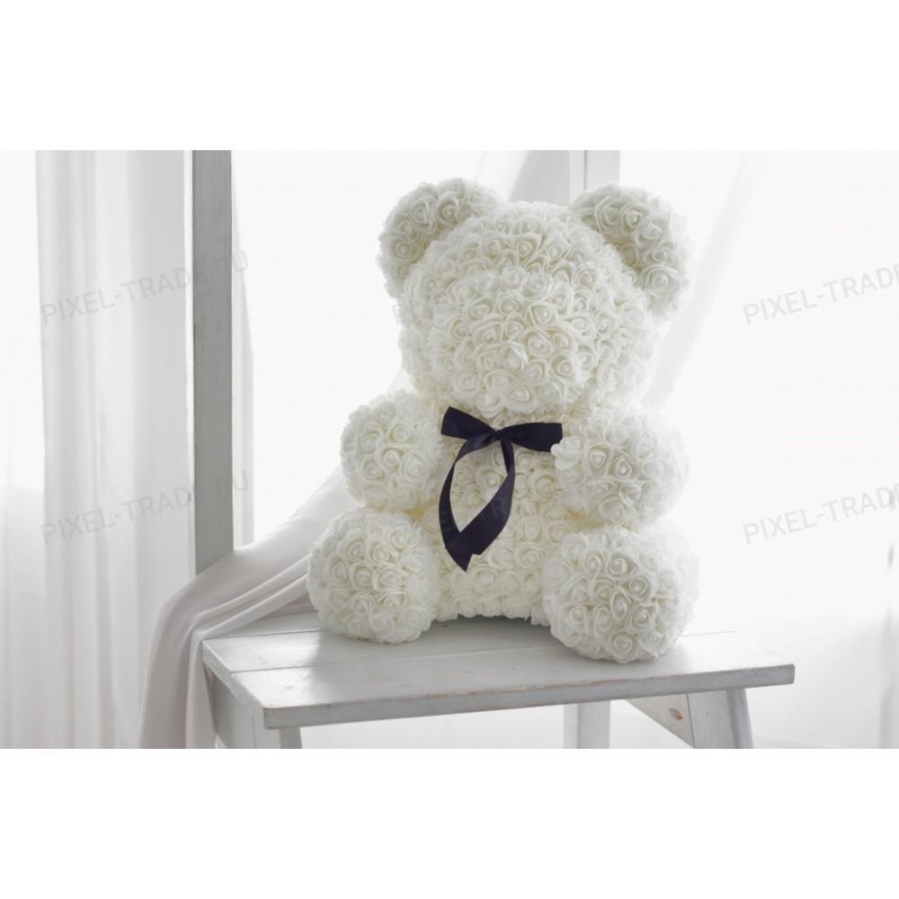 Rosebear Мишка из РОЗ PREMIUM 40 СМ (Белый)