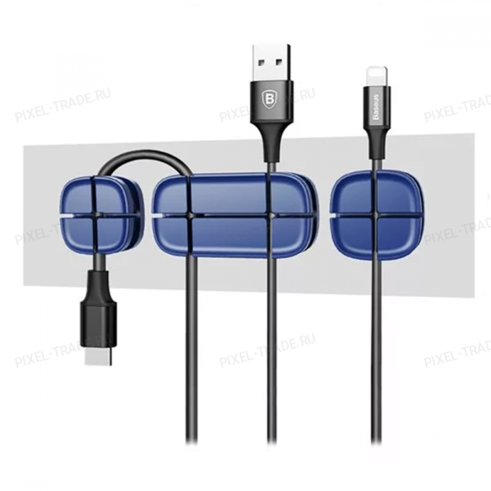Держатель для проводов Baseus Cross Peas Cable Clip (Blue) ACTDJ-03