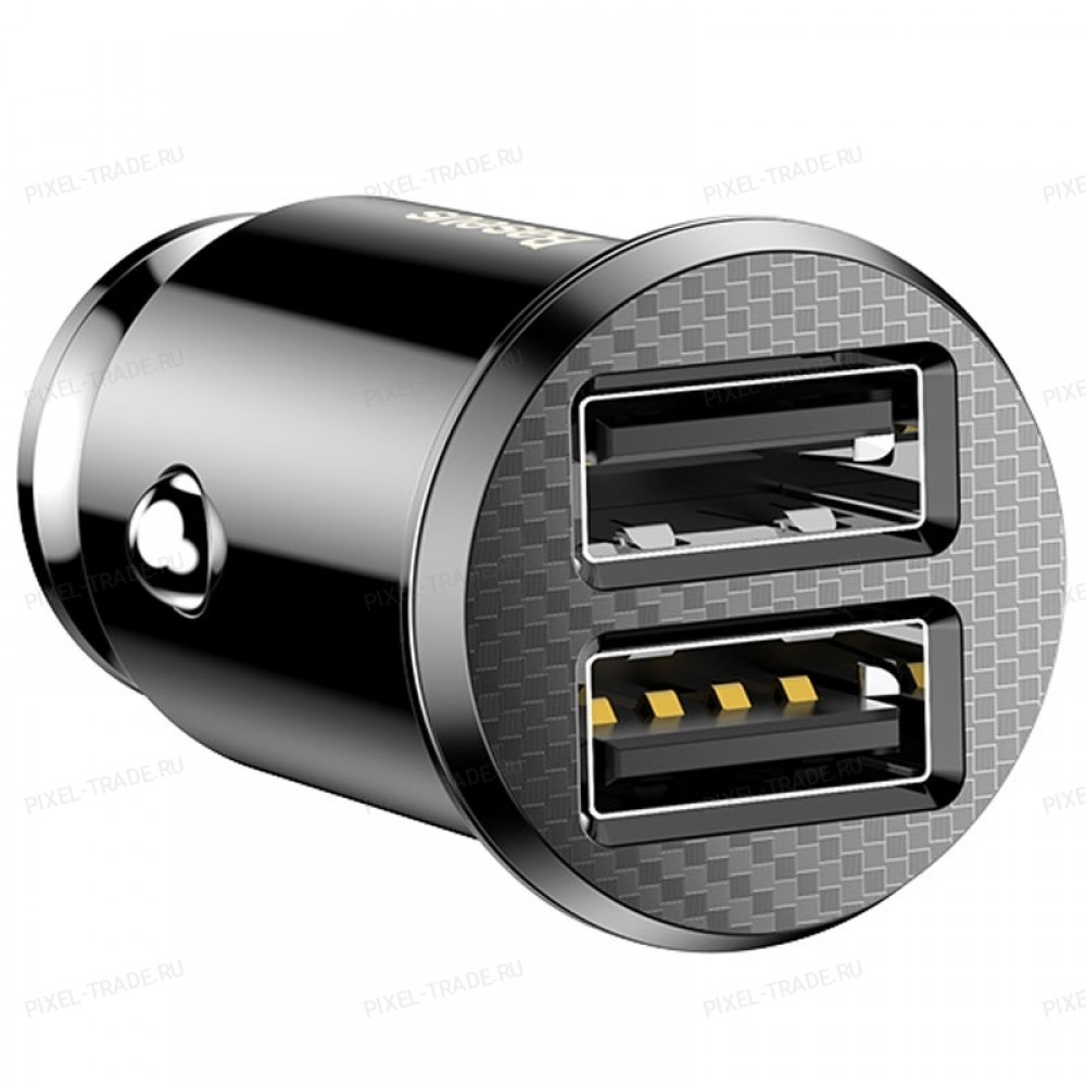 Автомобильное зарядное устройство Baseus Grain Car Charger (Dual USB 5V 3.1A) Black CCALL-ML01
