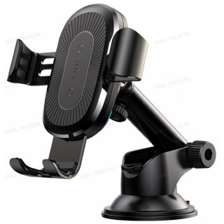 Автомобильный держатель Baseus Osculum Type Wireless Charger Gravity Car Mount (Black) WXYL-A01