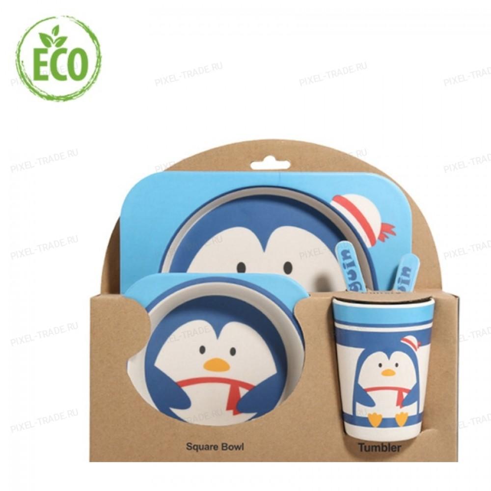"""Бамбуковая посуда для детей """"Пингвин"""""""