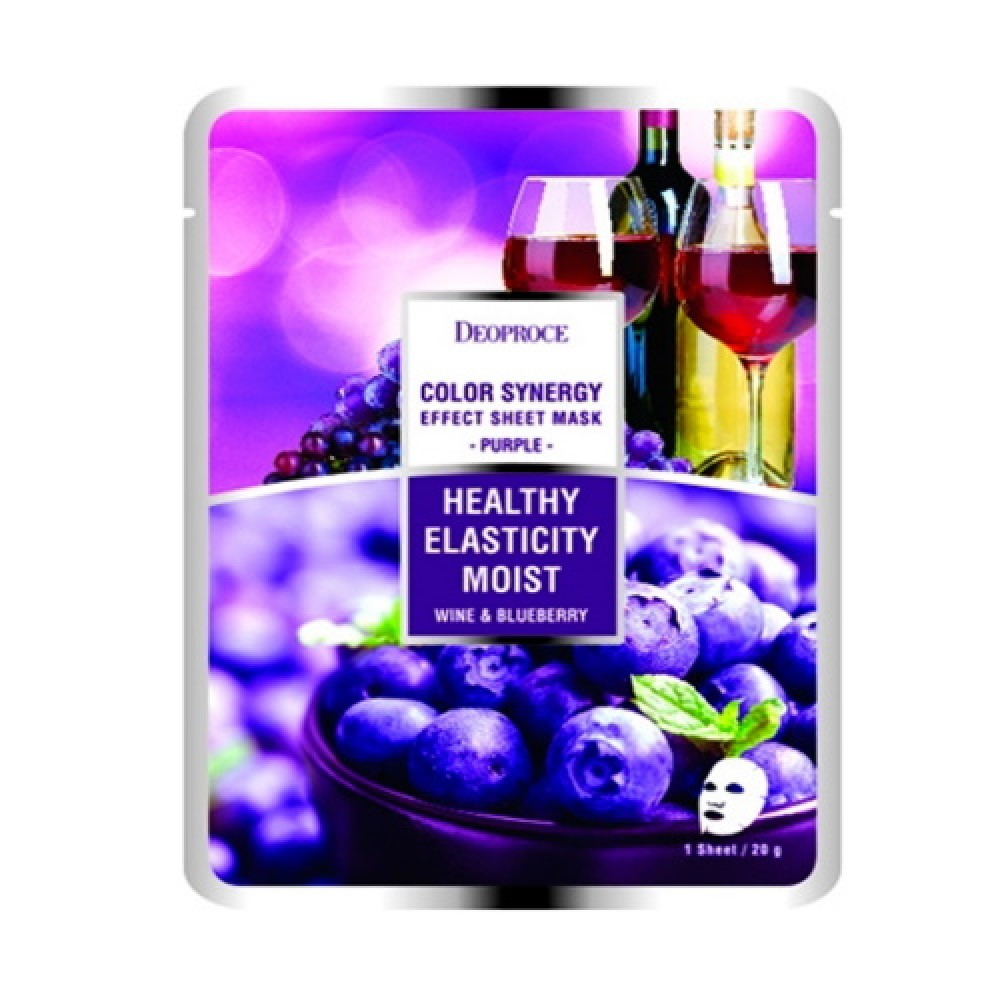 Deoproce Маска тканевая на основе черники и красного винограда Color Synergy Effect Sheet Mask Purple, 10 шт x 20 гр