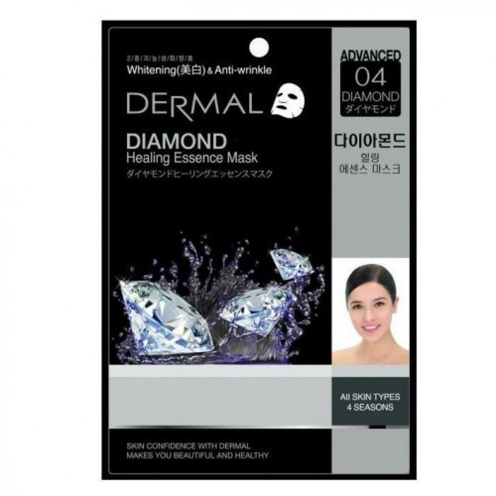 DERMAL Маска для лица анивозрастная ткан. #04 АЛМАЗ Diamond Healing Essence Mask, 28 гр