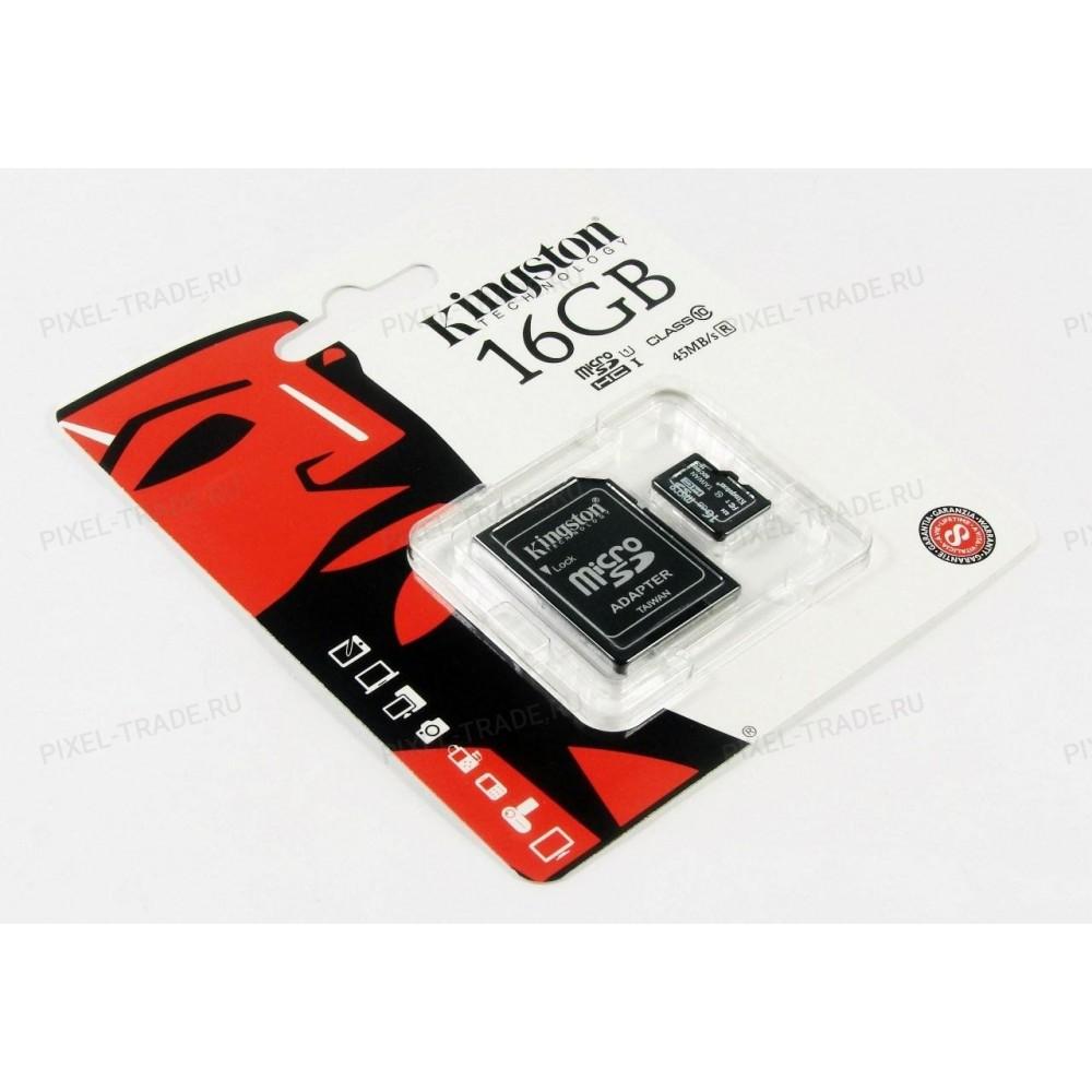 """Micro SD накопитель с переходником """"Кингston"""" 16GB"""