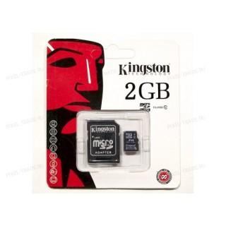 """Micro SD накопитель с переходником """"Кингston"""" 2GB"""