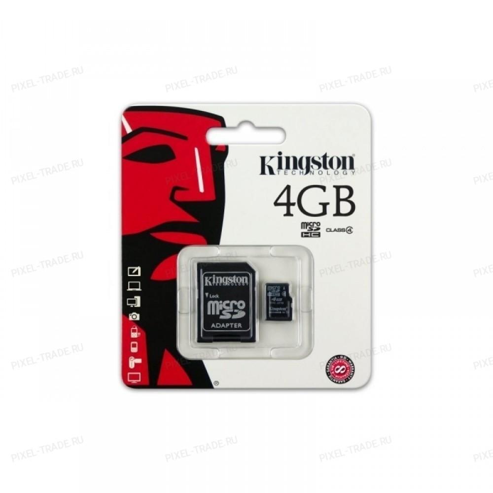 """Micro SD накопитель с переходником """"Кингston"""" 4GB"""