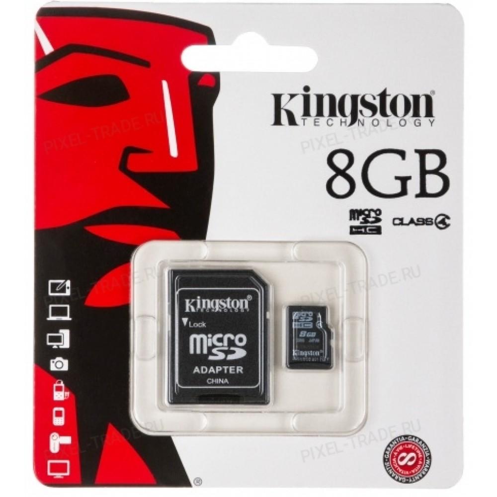 """Micro SD накопитель с переходником """"Кингston"""" 8GB"""
