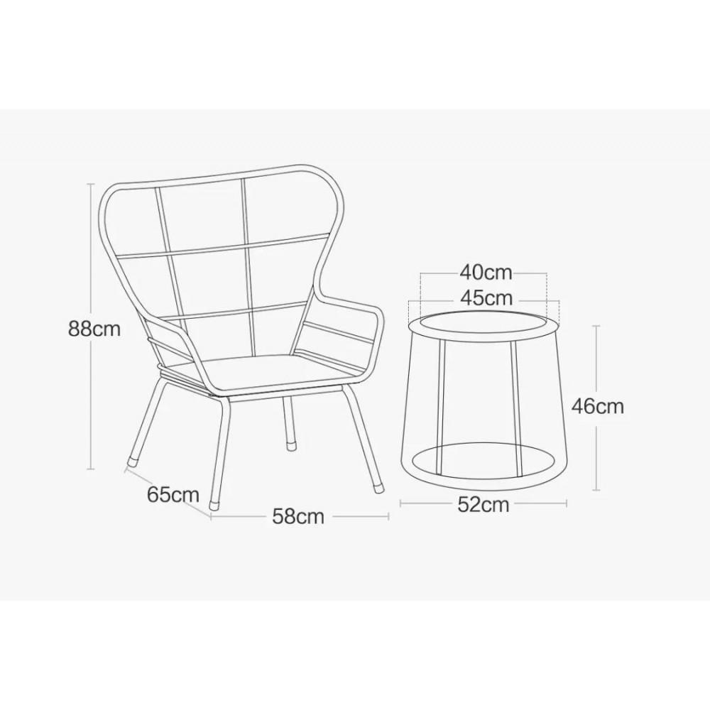 Набор 2 стула и стол-подставка из ротанга Xiaomi MWH Lennon Rattan Chair 3 Piece Set Combination Brown