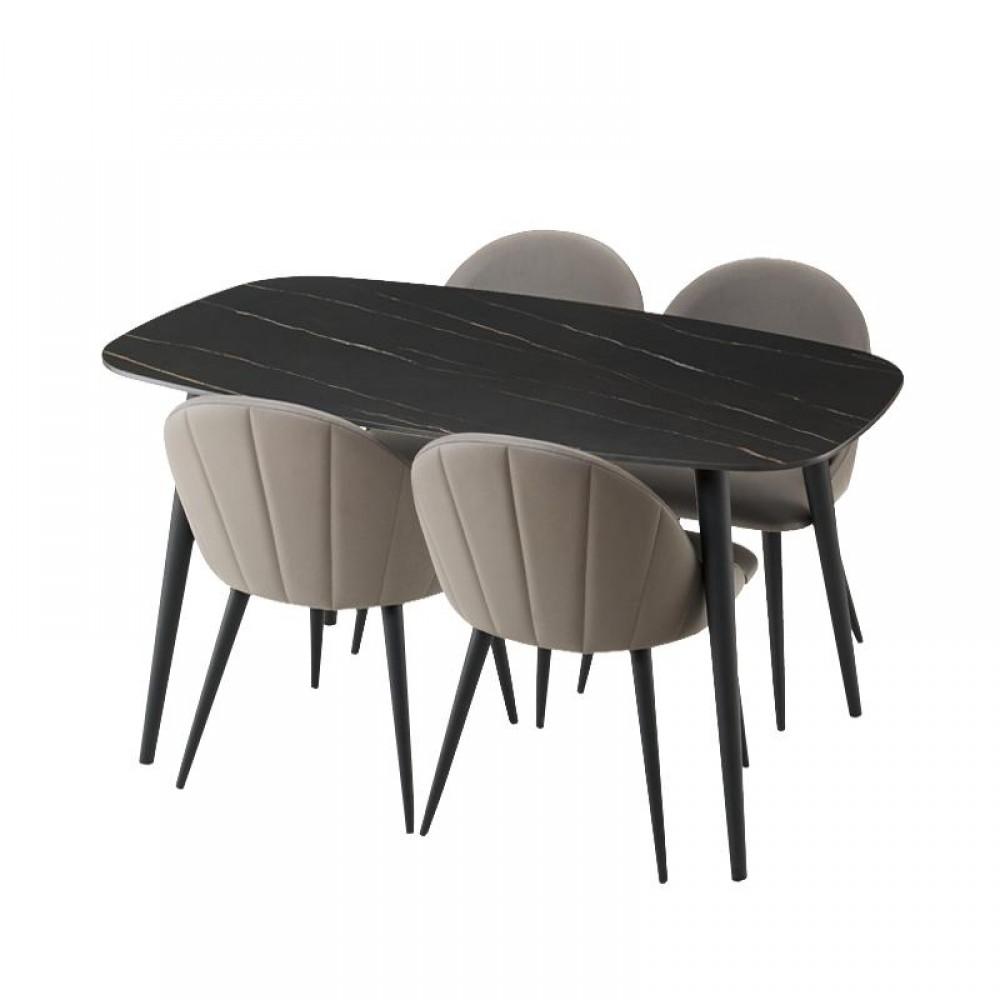Набор обеденной мебели Стол и 4 стула Xiaomi Yang Zi Seashell Rock Plate Dining Table And Chairs