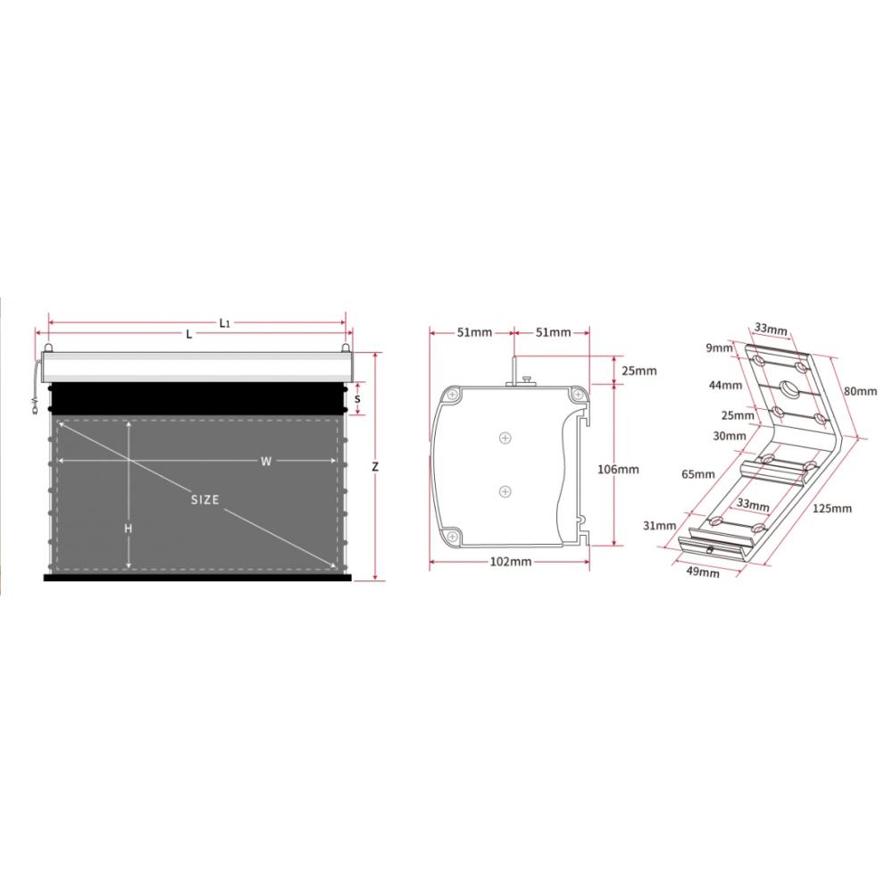 Настенно-потолочный экран для лазерного проектора Vividstorm Pro 100 дюймов