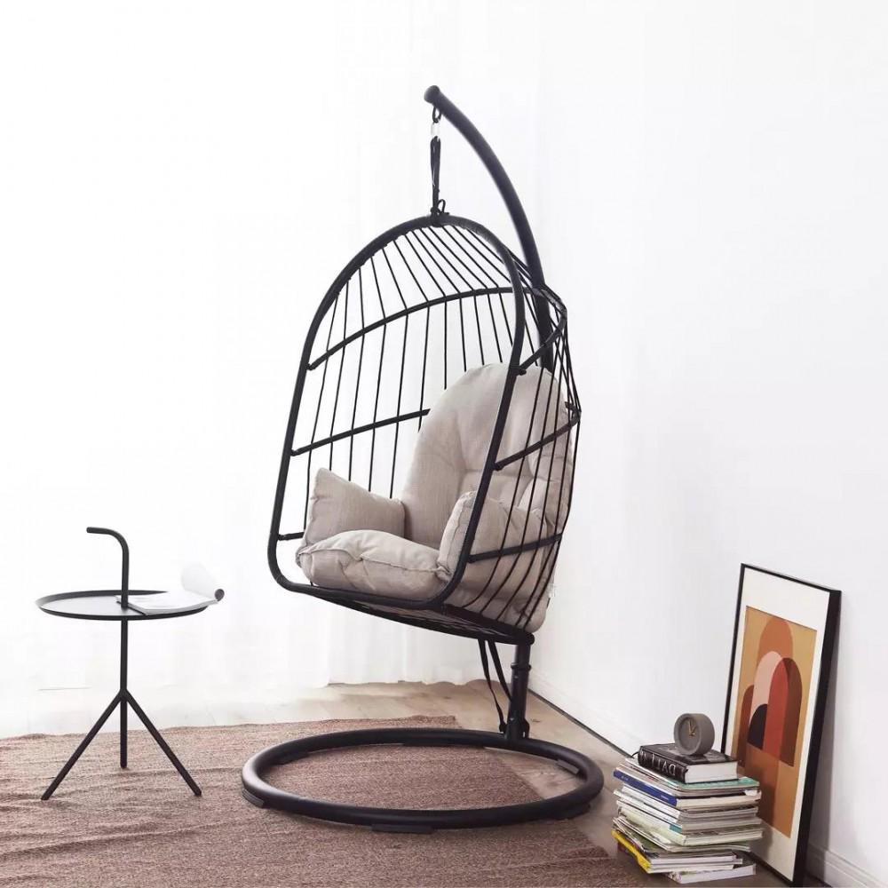 Подвесное кресло из ротанга Xiaomi MWH Ellz Hanging Basket Rattan Chair Black