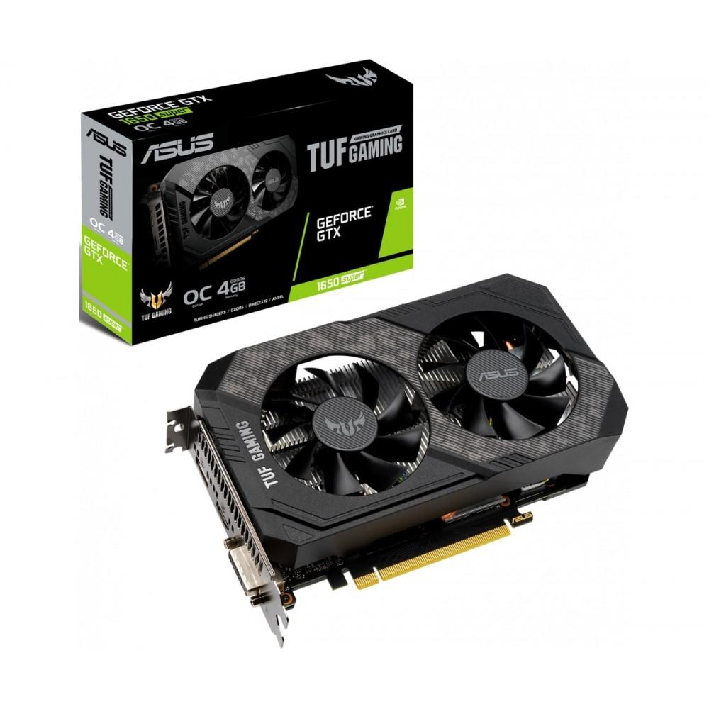 Видеокарта ASUS GeForce GTX 1650 TUF Gaming 1530Mhz PCI-E 3.0 4096Mb 12002Mhz 128 bit DVI DP HDMI TUF-GTX1650S-O4G-GAMING