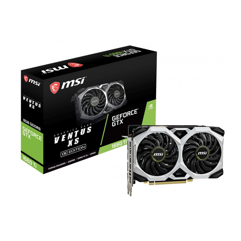 Видеокарта MSI GeForce GTX 1660 Ti 1830Mhz PCI-E 3.0 6144Mb 12000Mhz 192 bit 3xDP HDMI GTX 1660 Ti VENTUS XS 6G OC / GTX 1660 Ti VENTUS XS 6G OCV1