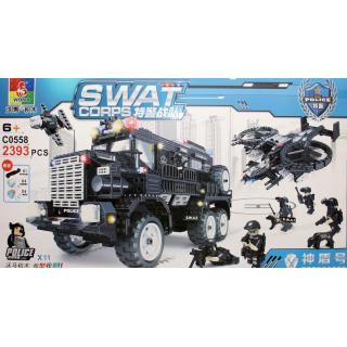 Конструктор Swat Corps Полиция «Спецназ: бронемашина и коптер-вертолёт» C0558