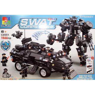 Конструктор Swat Corps Полиция «Робот спецназа и броневик-амфибия» C0551