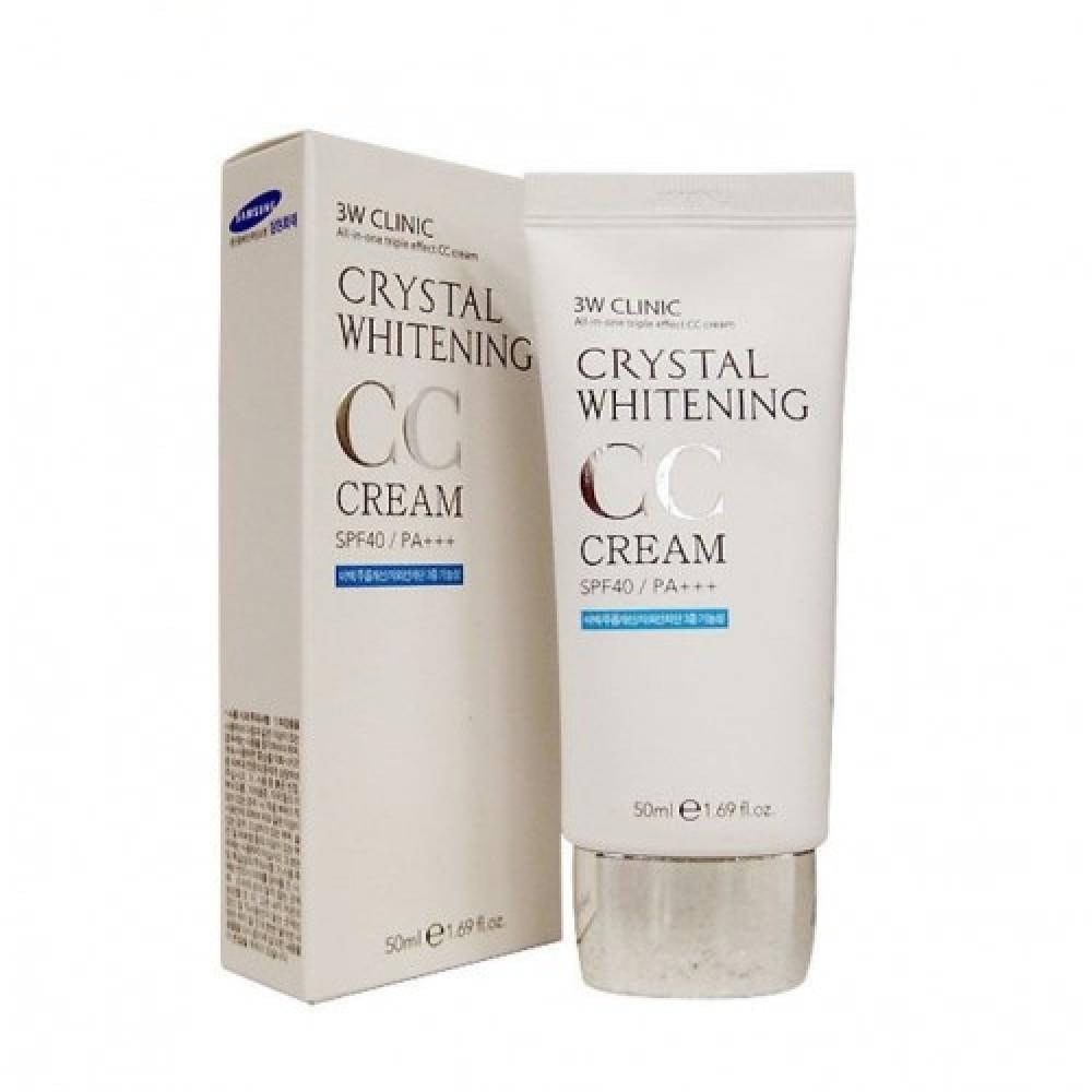 3W CLINIC Крем для лица СС/ОСВЕТЛЕНИЕ Crystal Whitening CC Cream SPF 50/PA+++