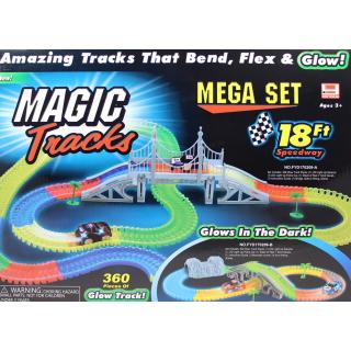Magic Tracks (Мэджик Трек) 360 деталей светящейся дороги + мост + 2 гоночных машинки