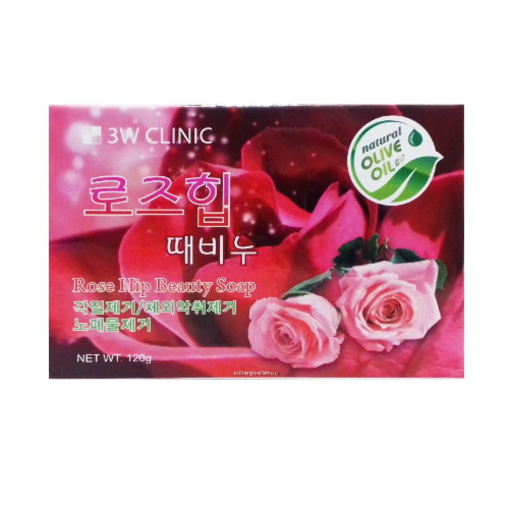 3W CLINIC Мыло кусковое РОЗА Rose Hip Beauty Soap, 120 гр