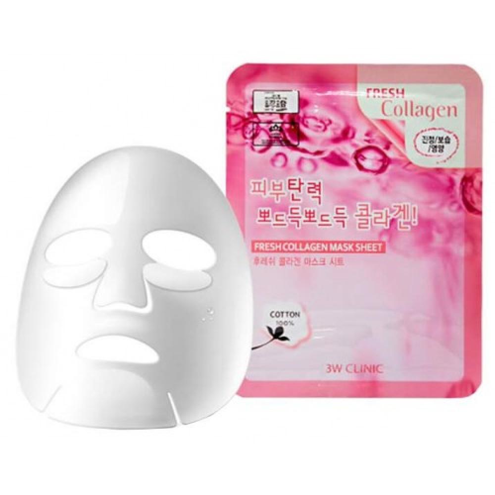 3W CLINIC НАБОР Тканевая маска для лица КОЛЛАГЕН Fresh Collagen Mask Sheet, 10 шт