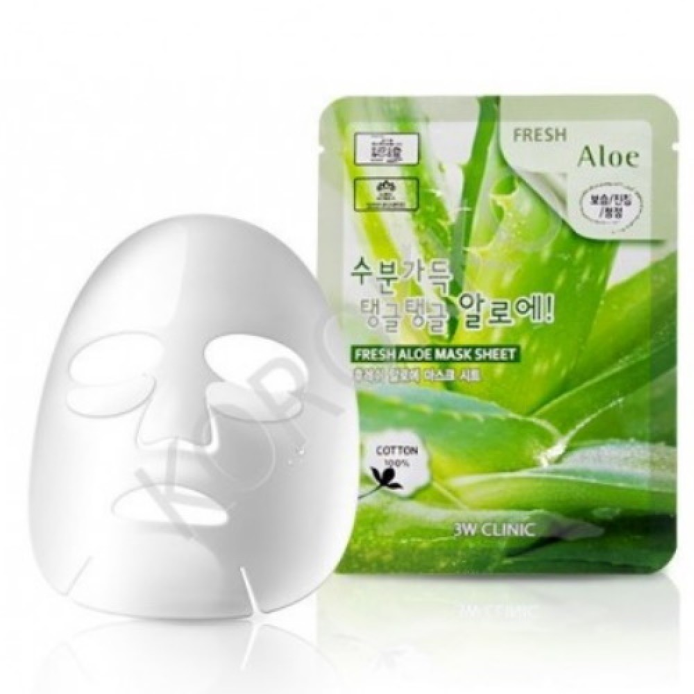 3W CLINIC НАБОР/Тканевая маска для лица АЛОЭ Fresh Aloe Mask Sheet, 10 шт
