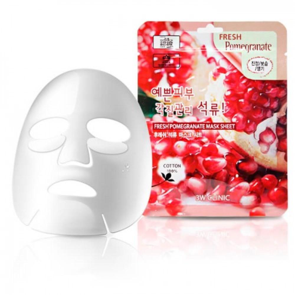 3W CLINIC Набор/Тканевая маска для лица ГРАНАТ Fresh Pomegranate Mask Sheet, 10 шт