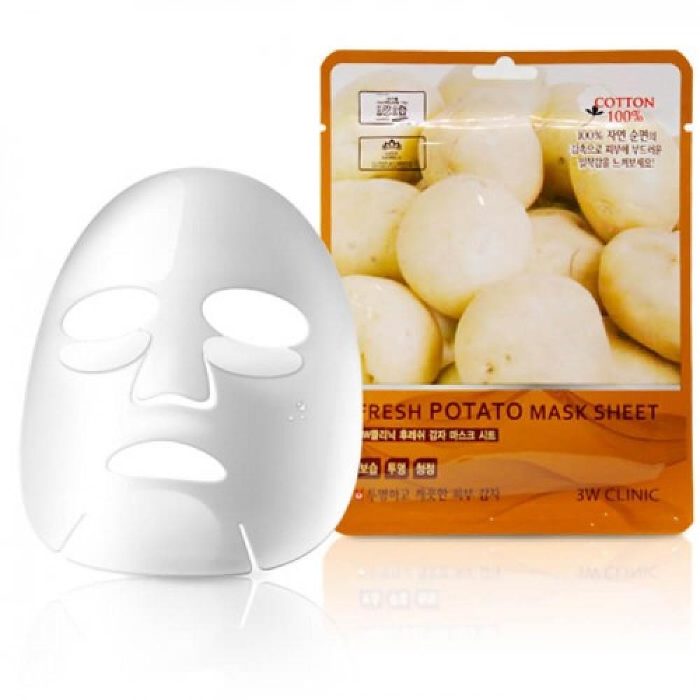 3W CLINIC НАБОР/Тканевая маска для лица КАРТОФЕЛЬ Fresh Potato Mask Sheet, 10 шт