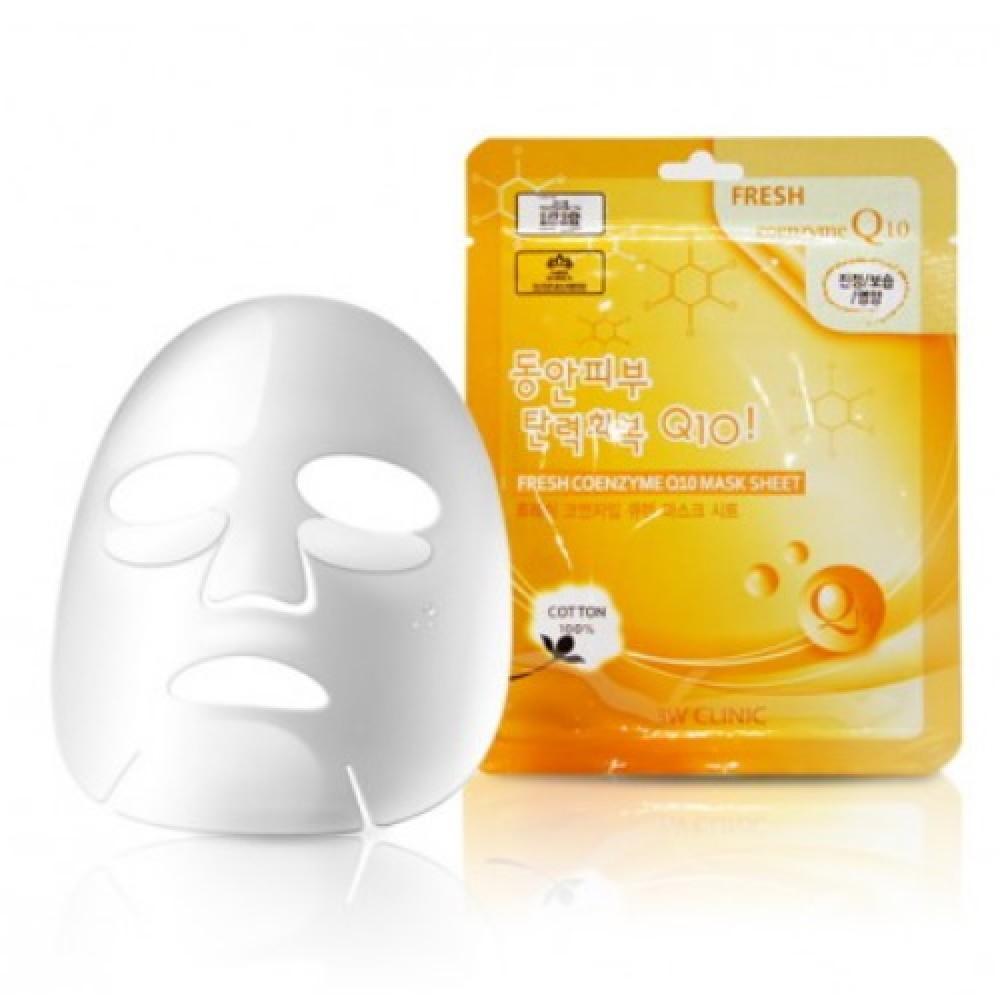 3W CLINIC НАБОР/Тканевая маска для лица КОЭНЗИМ Fresh Coenzyme Q 10 Mask Sheet, 10 шт