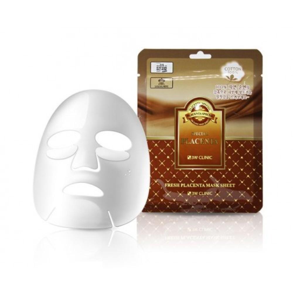 3W CLINIC НАБОР/Тканевая маска для лица ПЛАЦЕНТА Fresh Placenta Mask Sheet, 10 шт