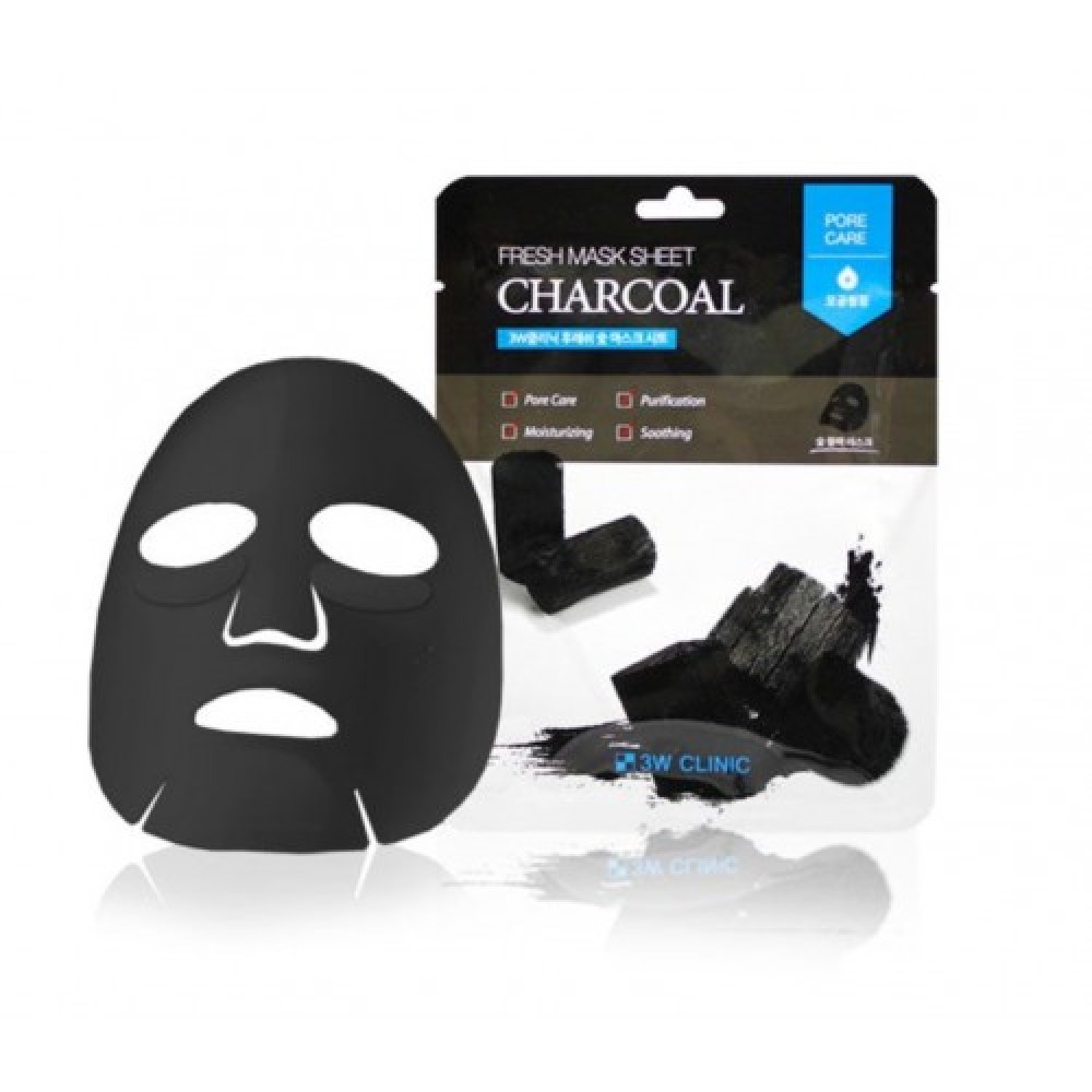 3W CLINIC Набор/Тканевая маска для лица УГОЛЬ Fresh charcoal Mask Sheet, 10 шт
