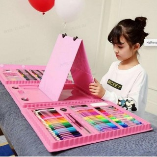 Художественный набор для рисования с мольбертом (176 предметов) Розовый