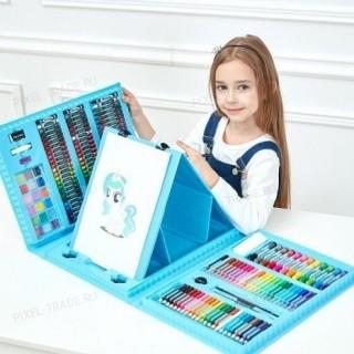 Художественный набор для рисования с мольбертом (176 предметов) Голубой