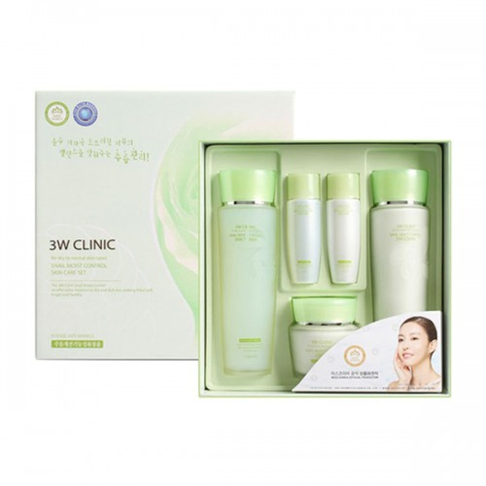 3W CLINIC УЛИТОЧНЫЙ МУЦИН Набор для лица Snail Moist Control Skin Care 3SET, тоник/эмульсия/крем