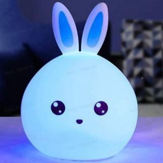 Силиконовый RGB светильник-ночник зайчик (голубой) с пультом управления