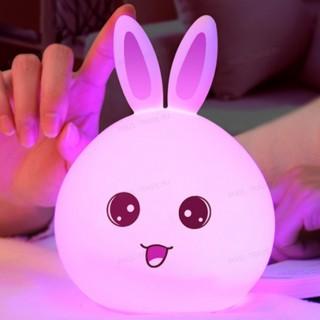 Силиконовый RGB светильник-ночник зайчик (Розовый) с пультом управления