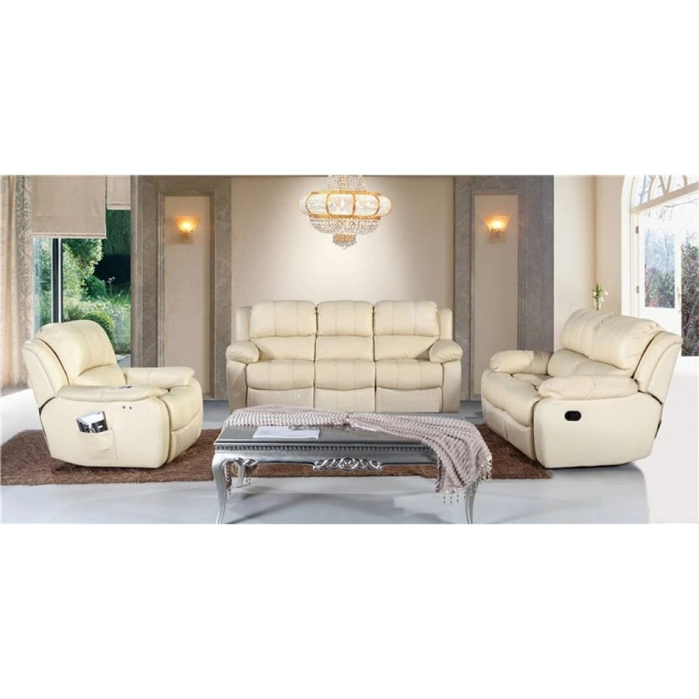 Кожаный диван-кровать Kisen+2 кресла-реклайнеры