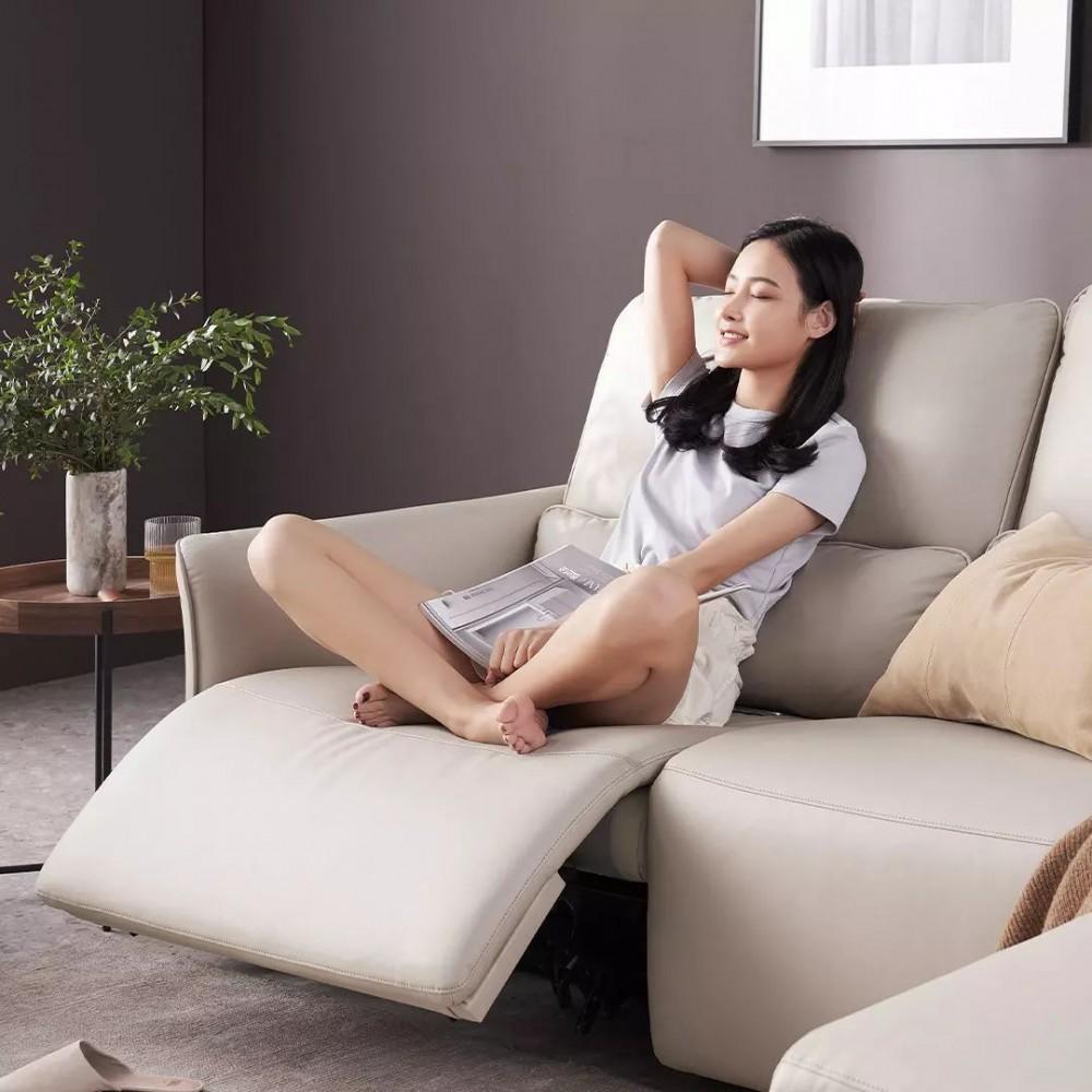 Диван-реклайнер на 4 места Xiaomi Yang Zi QiFeng Leather Electric Sofa Recliner Milk Tea Ash (реклайнер + обычное + обычное + полулежа)