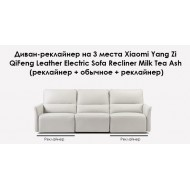 Диван-реклайнер на 3 места Xiaomi Yang Zi QiFeng Leather Electric Sofa Recliner Milk Tea Ash (реклайнер + обычное + реклайнер)